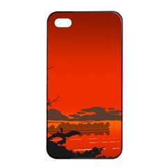 Tropical Birds Orange Sunset Landscape Apple Iphone 4/4s Seamless Case (black) by WaltCurleeArt