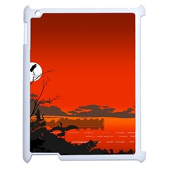 Tropical Birds Orange Sunset Landscape Apple Ipad 2 Case (white) by WaltCurleeArt