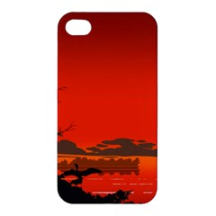 Tropical Birds Orange Sunset Landscape Apple Iphone 4/4s Hardshell Case by WaltCurleeArt