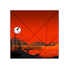 Tropical Birds Orange Sunset Landscape Acrylic Tangram Puzzle (4  X 4 ) by WaltCurleeArt
