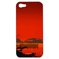 Tropical Birds Orange Sunset Landscape Apple Iphone 5 Hardshell Case by WaltCurleeArt