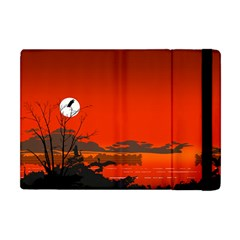 Tropical Birds Orange Sunset Landscape Apple Ipad Mini Flip Case by WaltCurleeArt