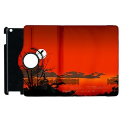 Tropical Birds Orange Sunset Landscape Apple Ipad 2 Flip 360 Case by WaltCurleeArt
