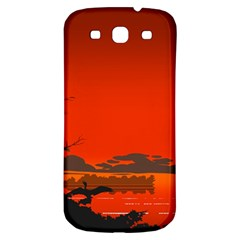 Tropical Birds Orange Sunset Landscape Samsung Galaxy S3 S Iii Classic Hardshell Back Case by WaltCurleeArt