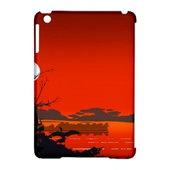 Tropical Birds Orange Sunset Landscape Apple Ipad Mini Hardshell Case (compatible With Smart Cover) by WaltCurleeArt