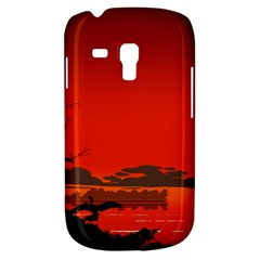 Tropical Birds Orange Sunset Landscape Samsung Galaxy S3 Mini I8190 Hardshell Case by WaltCurleeArt
