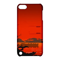 Tropical Birds Orange Sunset Landscape Apple Ipod Touch 5 Hardshell Case With Stand by WaltCurleeArt