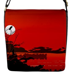 Tropical Birds Orange Sunset Landscape Flap Messenger Bag (s) by WaltCurleeArt