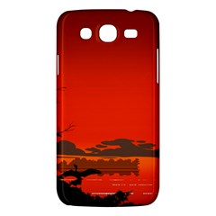 Tropical Birds Orange Sunset Landscape Samsung Galaxy Mega 5 8 I9152 Hardshell Case  by WaltCurleeArt