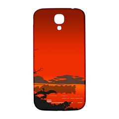 Tropical Birds Orange Sunset Landscape Samsung Galaxy S4 I9500/i9505  Hardshell Back Case by WaltCurleeArt