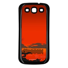 Tropical Birds Orange Sunset Landscape Samsung Galaxy S3 Back Case (black) by WaltCurleeArt