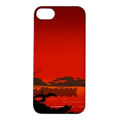 Tropical Birds Orange Sunset Landscape Apple Iphone 5s/ Se Hardshell Case by WaltCurleeArt