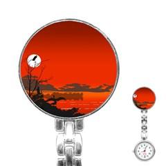 Tropical Birds Orange Sunset Landscape Stainless Steel Nurses Watch by WaltCurleeArt
