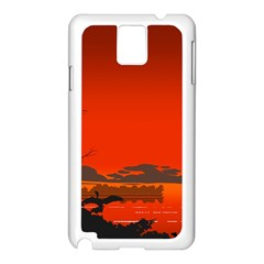 Tropical Birds Orange Sunset Landscape Samsung Galaxy Note 3 N9005 Case (white) by WaltCurleeArt
