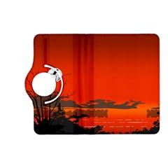 Tropical Birds Orange Sunset Landscape Kindle Fire Hd (2013) Flip 360 Case by WaltCurleeArt