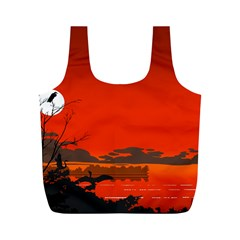 Tropical Birds Orange Sunset Landscape Full Print Recycle Bags (m)  by WaltCurleeArt