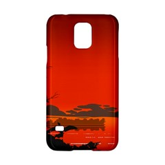 Tropical Birds Orange Sunset Landscape Samsung Galaxy S5 Hardshell Case  by WaltCurleeArt