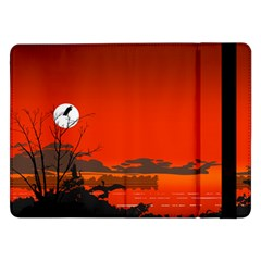 Tropical Birds Orange Sunset Landscape Samsung Galaxy Tab Pro 12 2  Flip Case by WaltCurleeArt