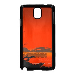 Tropical Birds Orange Sunset Landscape Samsung Galaxy Note 3 Neo Hardshell Case (black) by WaltCurleeArt