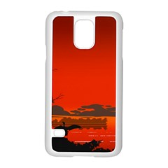 Tropical Birds Orange Sunset Landscape Samsung Galaxy S5 Case (white) by WaltCurleeArt