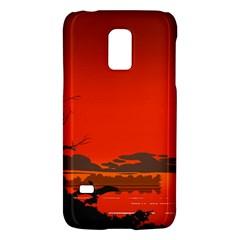 Tropical Birds Orange Sunset Landscape Galaxy S5 Mini by WaltCurleeArt