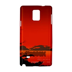 Tropical Birds Orange Sunset Landscape Samsung Galaxy Note 4 Hardshell Case by WaltCurleeArt