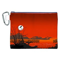 Tropical Birds Orange Sunset Landscape Canvas Cosmetic Bag (xxl)  by WaltCurleeArt