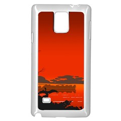 Tropical Birds Orange Sunset Landscape Samsung Galaxy Note 4 Case (white) by WaltCurleeArt