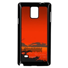 Tropical Birds Orange Sunset Landscape Samsung Galaxy Note 4 Case (black) by WaltCurleeArt