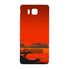 Tropical Birds Orange Sunset Landscape Samsung Galaxy Alpha Hardshell Back Case by WaltCurleeArt