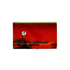 Tropical Birds Orange Sunset Landscape Cosmetic Bag (xs) by WaltCurleeArt