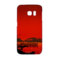 Tropical Birds Orange Sunset Landscape Galaxy S6 Edge by WaltCurleeArt