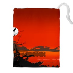 Tropical Birds Orange Sunset Landscape Drawstring Pouches (xxl) by WaltCurleeArt
