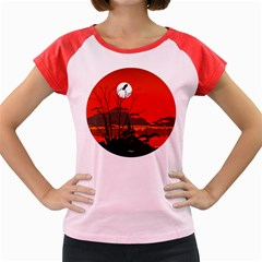 Tropical Birds Orange Sunset Landscape Women s Cap Sleeve T-Shirt by WaltCurleeArt