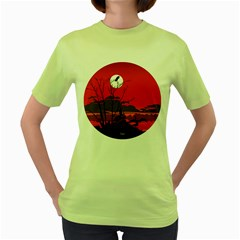 Tropical Birds Orange Sunset Landscape Women s Green T Shirt by WaltCurleeArt