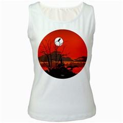 Tropical Birds Orange Sunset Landscape Women s White Tank Top