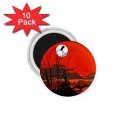 Tropical Birds Orange Sunset Landscape 1 75  Magnets (10 Pack)  by WaltCurleeArt