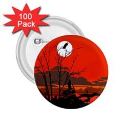 Tropical Birds Orange Sunset Landscape 2 25  Buttons (100 Pack)  by WaltCurleeArt