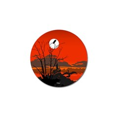 Tropical Birds Orange Sunset Landscape Golf Ball Marker by WaltCurleeArt