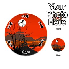 Tropical Birds Orange Sunset Landscape Playing Cards 54 (round)  by WaltCurleeArt