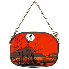 Tropical Birds Orange Sunset Landscape Chain Purses (one Side)  by WaltCurleeArt