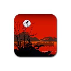Tropical Birds Orange Sunset Landscape Rubber Square Coaster (4 Pack)  by WaltCurleeArt