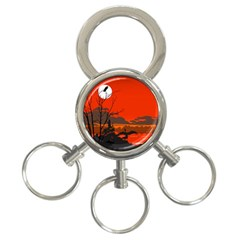 Tropical Birds Orange Sunset Landscape 3 Ring Key Chains by WaltCurleeArt