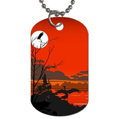 Tropical Birds Orange Sunset Landscape Dog Tag (one Side) by WaltCurleeArt