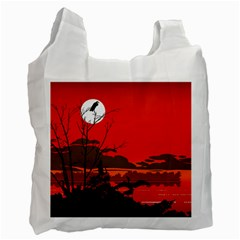 Tropical Birds Orange Sunset Landscape Recycle Bag (one Side) by WaltCurleeArt