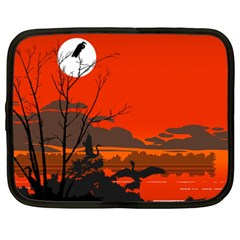 Tropical Birds Orange Sunset Landscape Netbook Case (xxl)  by WaltCurleeArt