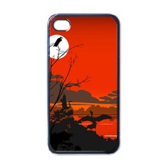Tropical Birds Orange Sunset Landscape Apple Iphone 4 Case (black) by WaltCurleeArt