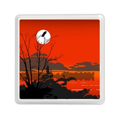 Tropical Birds Orange Sunset Landscape Memory Card Reader (square)  by WaltCurleeArt
