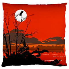 Tropical Birds Orange Sunset Landscape Large Cushion Case (one Side) by WaltCurleeArt