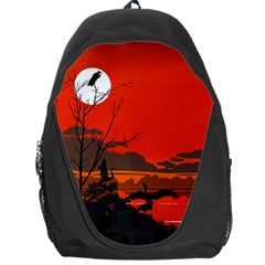 Tropical Birds Orange Sunset Landscape Backpack Bag by WaltCurleeArt